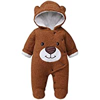 WYTbaby Baby Hooded Romper Winter Newborn Snowsuit Toddler Fleece Jumpsuit Button Front Bear Pattern, Brown 0-3 Months