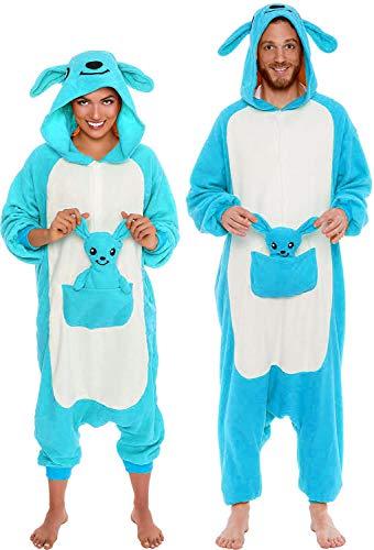 (Memoryee Unisex Erwachsene Pyjamas - Plüsch Kostüm Party Cosplay Tier Känguru Kostüm Idee/Blau/L)