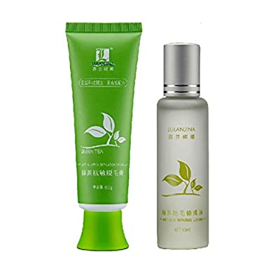 Weisy Green Tea Fast Hair Removal Cream 60g + Lotion 30ml Set Body Hair Removal Cream Herbal Essence Anti-allergic from Weisy