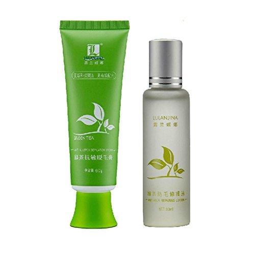 Cocohot Enthaarungs Creme Set, Grüner Tee Enthaarungscreme Schmerzlose Haarentfernungscreme, Repair Fluid - für Körper, Achsel, Beine und Arme