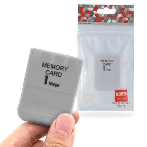 SuperSmashMedia® - PS1 Memory Card 1MB (For PlayStation 1, PSX, Psone)  [Grey]
