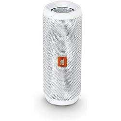 JBL Flip 4 - Enceinte Bluetooth portable robuste - Étanche IPX7 pour piscine & plage - Autonomie 12 hrs - Qualité audio JBL - Blanc