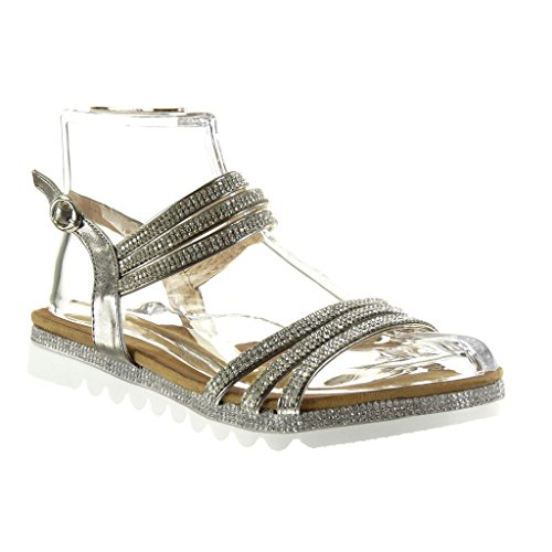 Angkorly Damen Schuhe Sandalen - Sneaker Sohle - String Tanga - Multi-Zaum - Strass Flache Ferse 2.5 cm Grau