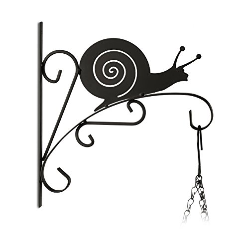 Relaxdays 10020695_625 appendi-vasi con lumaca ganci portavasi da parete decorazioni da giardino metallo hxlxp: 30 x 28 x 2 cm nero
