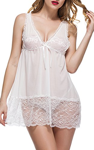 BMAKA Reizwäsche Spitze Damen Kleid V-Ausschnitt nachthemd sexy Lingerienachtwäsche Unterwasche Negligee mit G-String (L, Weiß)