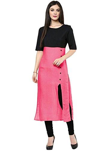 Vatsla Women's Free Size Regular Fit Pink and Black Stitched Cotton Long Sleeve Kurtas (VFBAwestern-designer)