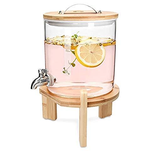 SJmeet Bowle Gefäß Wasserspender Glas Vintage Fruchtgetränke Cocktail Edelstahl Zapfen 5 Liter