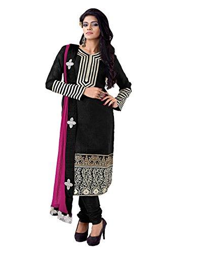 Multi Retail Black Embroidered Chanderi Semistitched Dress With Dupatta