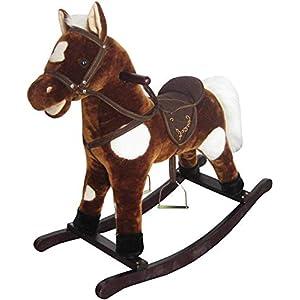 The Rocking Horse Co Neu Plüsch Schaukel Pferd – Brauner + Weiß Gepunktet Mähne Sattel Trense Klingt