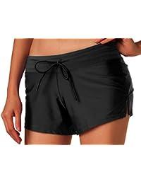 DJT Femme Shorts de Bain pour Nager Plage taille avec corde Fourchu en cote