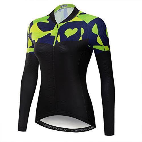 MTB Jersey Frauen Radfahren Jersey Langarm Bike Jersey Reißverschluss Mountain Road Kleidung Fahrrad Tops Atmungsaktiv Pro Team Sport Shirts für Frauen Frühling Herbst radfahren schwarz Größe XXL