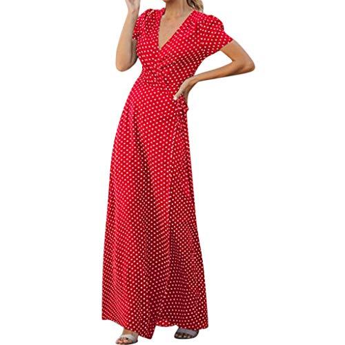 Juliyues Maxi Kleider Damen Dot Print V-Ausschnitt Split Gabel Welle Kleider Frauen Kurzarm Böhmischen Strandkleider Sommerkleid Partykleid ()