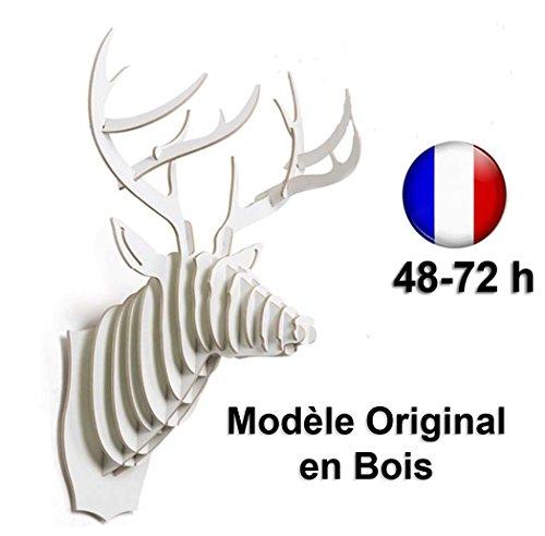Tête de Cerf Blanc Trophée Chasse Bois Luxe Art Décoration Murale Loft