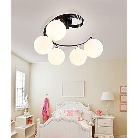 LED de techo moderna minimalista personalidad creativa pequeña habitación de los niños cepillo de estilo europeo de vidrio del restaurante del dormitorio sala de estar pórtico de la lámpara ( Tamaño : 5 Luces Color disponible