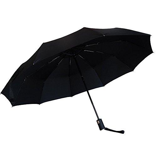 Regenschirm | Satu Brown Automatischer Taschenschirm mit 210T Stoff | Automatisches Öffnen und Schließen | Kompakter Reiseschirm für Frauen und Männer | Sturmfest Windfest Stabil Klassisch Schwarz