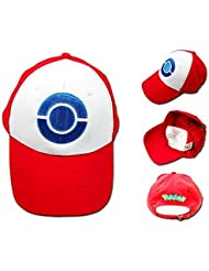 cosplay? Pokemon - Ash Ketchum - Blanco/Rojo - Terylene - Sombrero/Gorra -