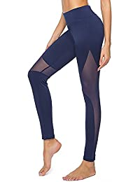 dh Garment Legging Sport Femme Pantalon Yoga avec Poche Taille Haute Amincissant Coton - Noir