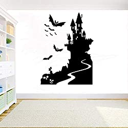 WSYYW Halloween Sorcière Château Sticker Mural Elf Chauve-Souris Sticker Diy Vinyle Fenêtre En Verre De Porte Decal Décor À La Maison Accessoires Wall Sticker Home Jardinage Blanc 42x31cm