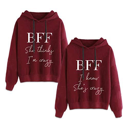Beste Freunde Kapuzenpullover für Zwei BFF Best Friends Pullover Sister Hoodie Pullis Partnerlook Sweatshirts 2 Stücke(Grau,Think-XS+Know-XS) (2 Stück Pullover)