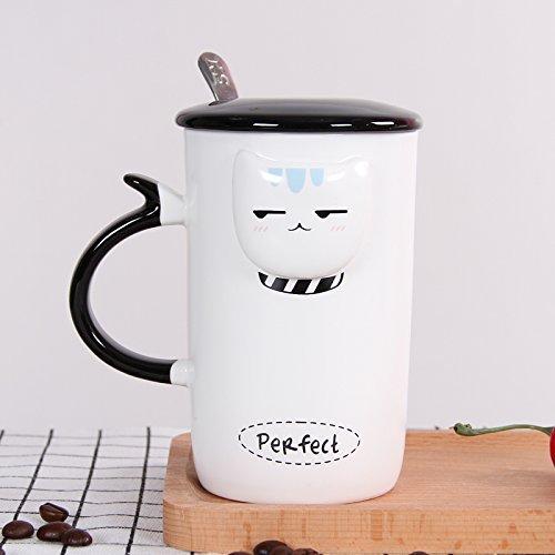 Mugcap das Büro der Continental Cup Kreative einfach personalisierte Tasse Milch Cup Home Cup Nordic suchen Becher, Augenabstand Cat [Slim- -