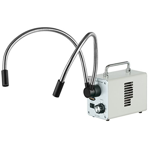 AmScope 3.5X-45X Zoom Stereo Trinocular Microscope on Dual-Arm Boom Stand with Dual LED Fiber Optic Light 16MP USB3.0 Camera