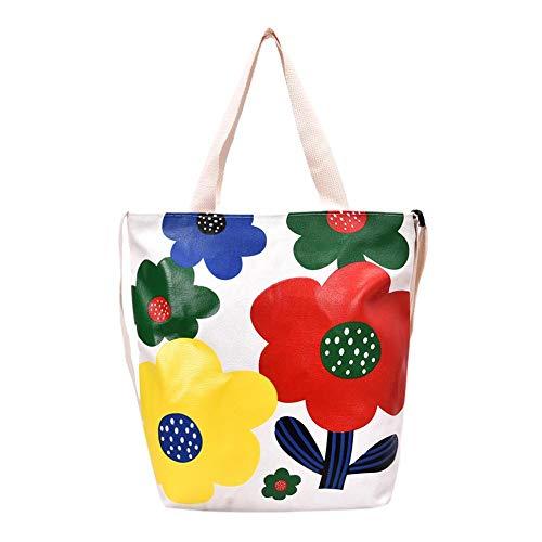Occitop Flower Print Shoulder Handbags Women Tote Canvas Satchel Top-Handle Bag (L) -