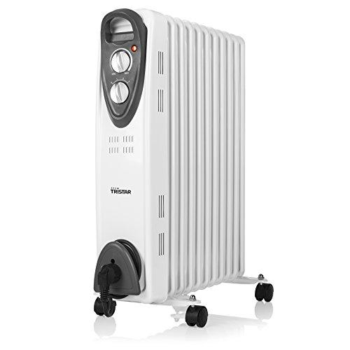 Tristar  Elektroheizkörper (Ölradiator) – 3 einstellbare Leistungsstufen/regelbares Thermostat/11 Rippen/2000W/1,4 Meter Kabelzuleitung, KA-5091