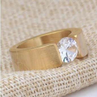 OOFAY Titan Steel Diamond Männer Ring Tri-Color Zirkon Edelstahl Ring,Metallic,XL