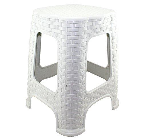 Hoffmanns Sitzhocker 29 x 29 cm Sitzfläche im edler Rattanoptik, 45 cm hoch (Standfläche 37 x 37 cm) ... (Weiß)