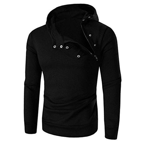 Herren Pullover REFULGENCE 2017 Herren Reißverschluss Pullover mit Schnalle Hut Sets von Pullover (Schwarz, L) (Kragen-polyester Acryl)