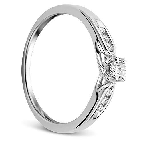 Orovi Damen Ring Weißgold 0.20 Ct Diamant Verlobunsgring 9 Karat (375) Gold und Diamanten Brillanten (Weißgold Ring Diamant Damen)