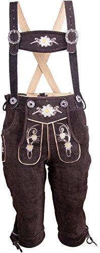 Almwerk Kinder Trachten Lederhose Kniebund in braun, hellbraun und schwarz, Kindergrößen:110 - 4-5 Jahre. 105-110 cm;Farbe:Braun (Kinder Tracht)