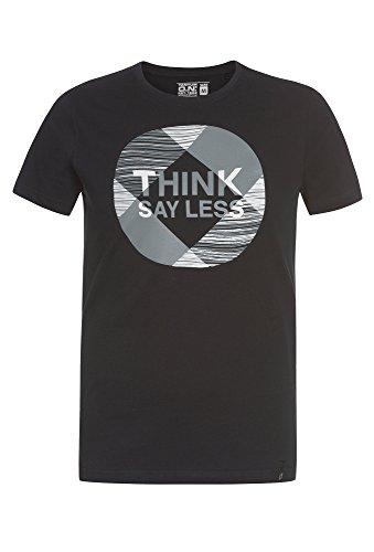TANTUM O.N. T-Shirt mit Typo-Print, Herren Herren-Shirt,Shirt,T-Shirt,Baumwoll-Shirt, Schwarz