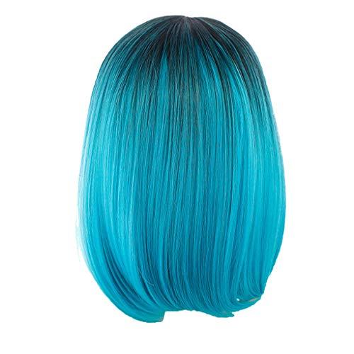 Zolimx Gerade Bob Perücken Synthetisches Haar kurze Partei Haar Perücke Schwarzes Rosa Ombre Haar (Die Grünen Blauen Und Perücke)