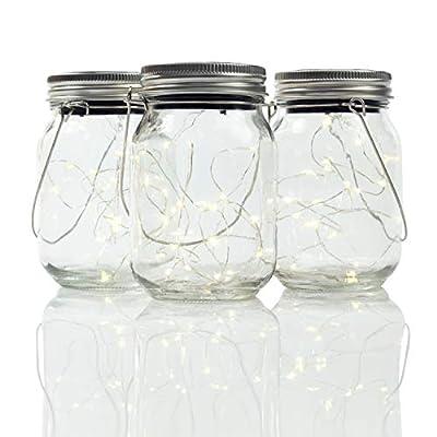 Gadgy ® Solarglas Einmachglas Set Fairy Lights   3 Stück USB Wiederaudladbar   Mit USB Kabel   20 Warmweiße LED's   Solar Licht Glas Lampe Außen Garten Laterne von Gadgy
