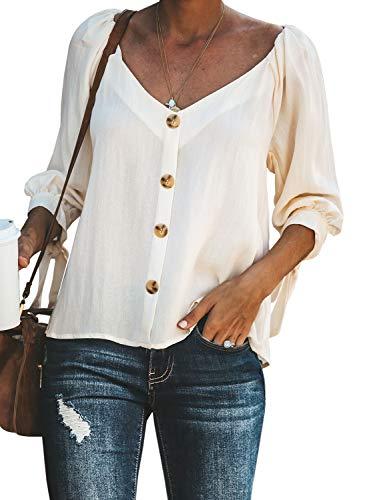 FIYOTE Damen Bluse Chiffon Langarm Oberteile Hemd Asymmetrisch Top Weiß L -
