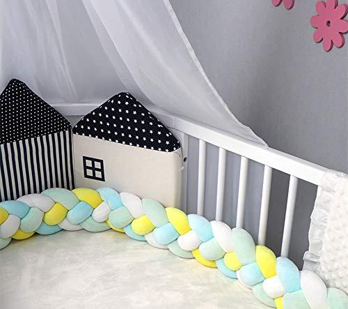 GLITZFAS Baby Krippe Stoßstange Nestchenschlange 4 Weben Bettumrandung für Babybett Kinderbett Bettausstattung (Grün+Blau+Weiß+Gelb,2 m) - Kinderbett Stoßstange Weiße Bettwäsche