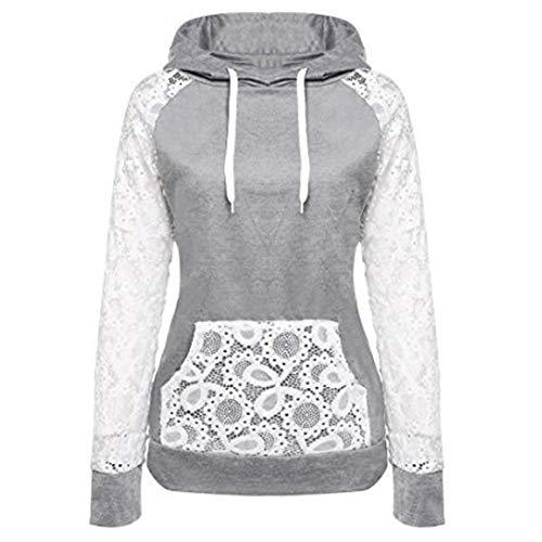 Moonuy Damen Hoodies, Frauen Herbst/Winter Langarm Hoodie Sweatshirt Jumper Mit Kapuze Pullover Stilvolle Kleidung Elegante Bluse S~6XL (M, B)
