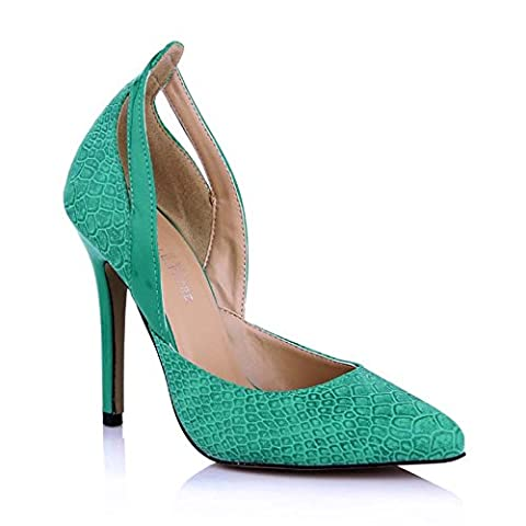 Klicken Sie auf Frauen fallen neue stilvolle Schuh Punkte und Veranstaltungsräume grüne Schlange high-heel Schuhe, Grün