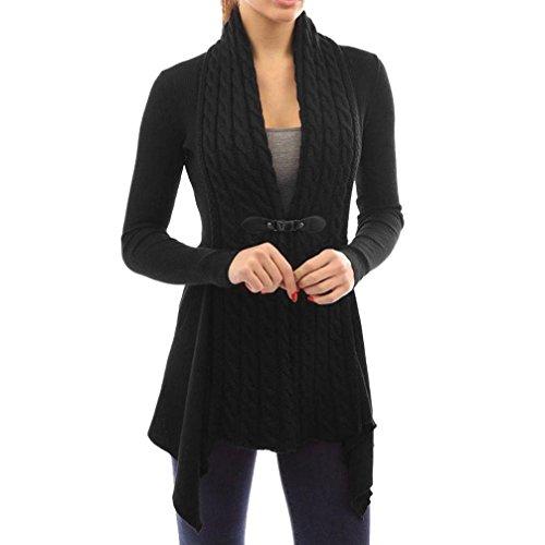 Koly_Manica lunga casuale delle donne lavorato a maglia Cardigan Outwear (M, Nero)