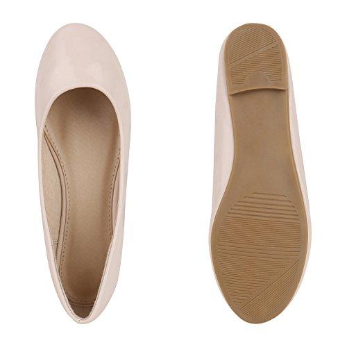 Klassische Damen Ballerinas Lederimitat Schuhe Nude Metallic Nude Nude