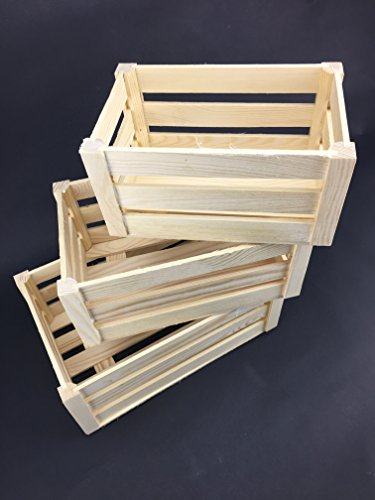 Caisse en bois massif Lot de 3 Boîte de Rangement woodeeworld