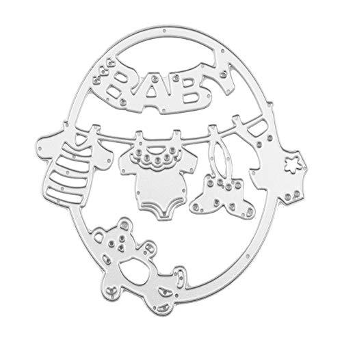 Oval Schneideisen Carbon Steel Metallschablone Vorlage hohle geschnitzte Baby-Kleidung und Spielzeug Muster Scrapbook Fotoalbum-Karte DIY Geschenk für Baby