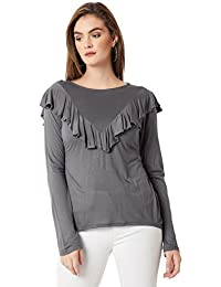 Miss Chase Women's Grey Ruffled Blouse Top