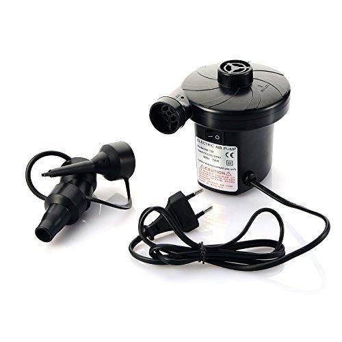 Moobom Elektrische Luftpumpe 220V Stecker Automatische aufblasbare Bootspumpe mit 3 Düsenadaptern, Universalventile Aufblähungen und Deflates für Garten Home Holiday Camping Airbed, Luftmatratze