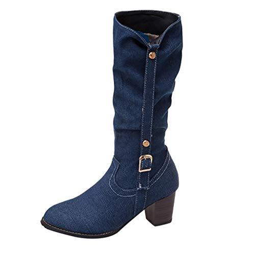 Dorical Cowboy Boots für Damen/Frauen Winterschuhe Langschaft Stiefeletten mit Blockabsatz Western Biker Boots Denimoptik Schlupfstiefel Reitstiefel Damenstiefel Gr 35-43(Blau,37 - China Kostüm Großhandel
