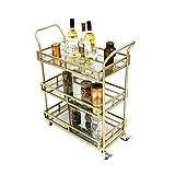 3-tier Schmiedeeisernen Servicewagen Hause Hotel Restaurant Weinregal Multifunktionale Lagerung Wagen (gold, 80 * 35 * 65 CM)