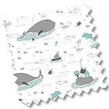 5419 - millemarille Ersatzbezug Wickelauflage 'save the whales' I 50x70cm I Ökotex I maritim I Wale