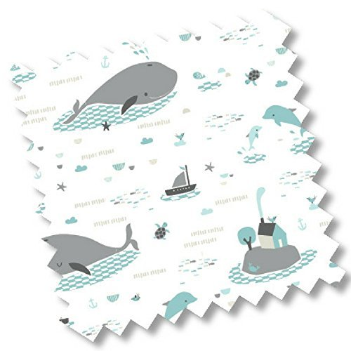 "5419 - millemarille Ersatzbezug Wickelauflage ""save the whales"" I 50x70cm I Ökotex I maritim I Wale"
