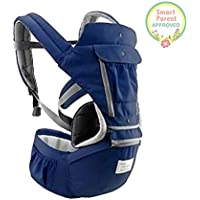 All-in-One Baby Breathable Travel Carrier Multi-Position Carrying for Infants Babies Toddlers Protective Leg Pads (Navy)